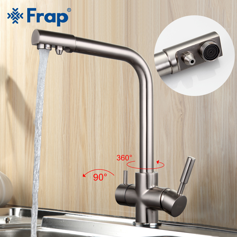 FRAP Kitchen Faucet kitchen mixer faucet drinking water faucet dual handle kitchen sink faucet taps with filtered water taps
