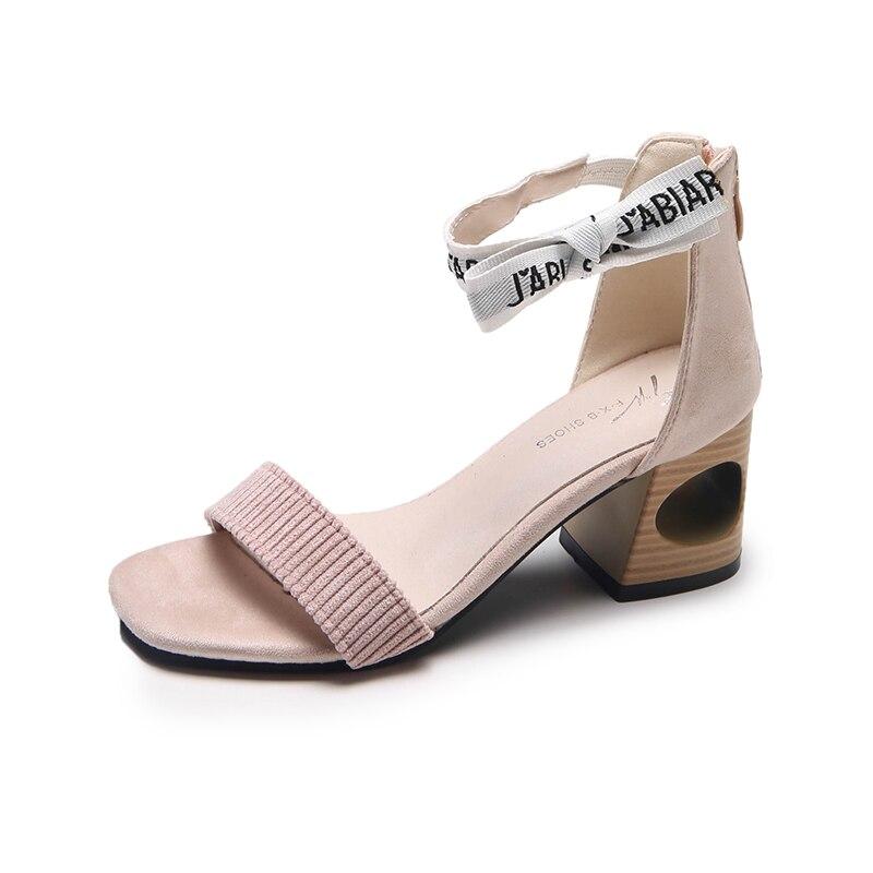 rose Haute Femmes Carré Élégant Sandale Sandales Chaussures Noir Zipper Pour A776 Talons Femme Mode Dames D'été qTFRfw