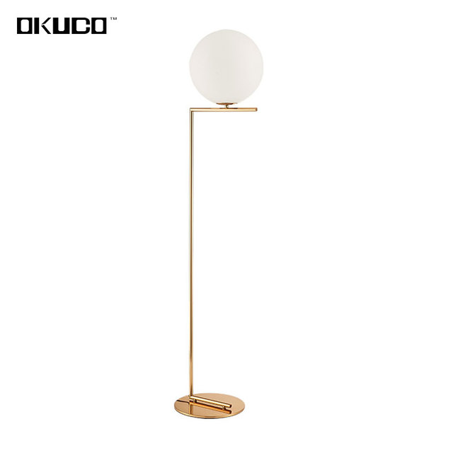 Modern simple gold floor lamps for bedroom led source contemporary design art decoration white glass ball