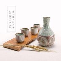 Japanese high grade vintage wine set ceramic hip flasks sake pot cup portable flask liquor bottle distiller retro drinkware