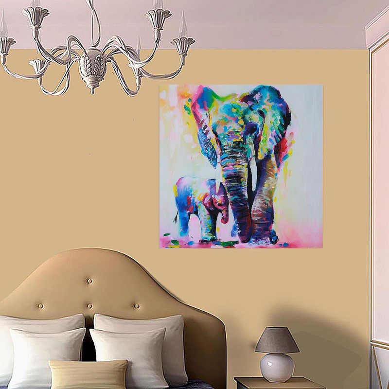 1pieces / sets Animal Elephant With Son Canvas Painting HD Printed Canvas Art Wall Pictures For Living Room Home Decor framed