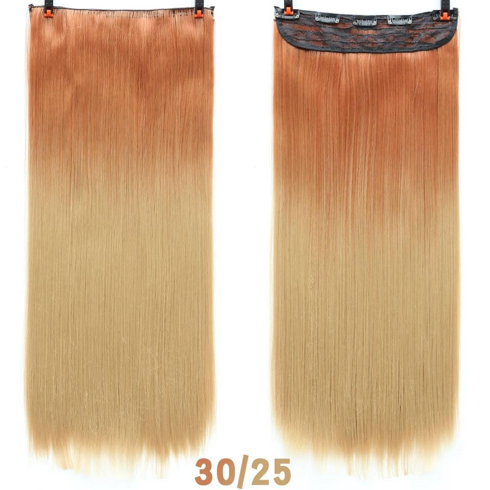 SHANGKE волосы 24 ''длинные прямые женские волосы на заколках для наращивания черный коричневый высокая температура Синтетические волосы кусок - Цвет: T4/10/27(B)