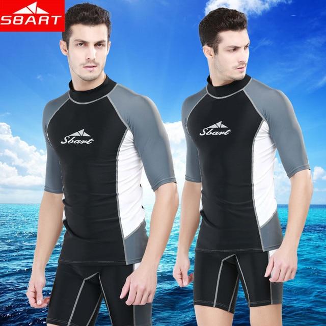 09d02e6a67f7fc SBART Rashguard Swim Shirts Men Short Sleeve Surf Lycra Top Sunscreen Mens  Rash Guard Surf Shirt