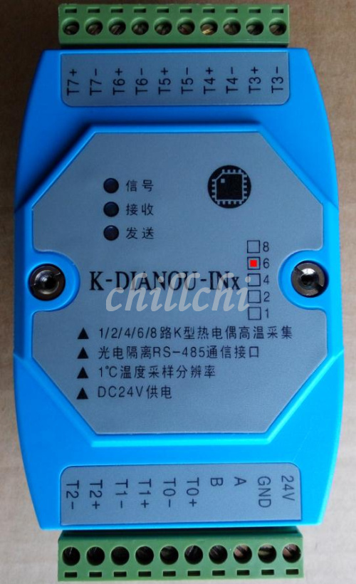 6 road Type K thermocouple temperature temperature measurement module RTU MODBUS protocol photoelectric isolation 485 networking