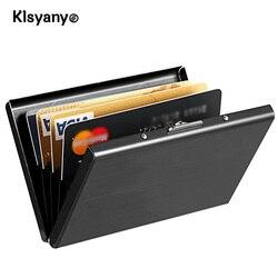 Edelstahl Metall Karte Fall Box Männer Frauen Business Kreditkarte Halter Brieftasche Abdeckung Geldbörse Aluminium Halter
