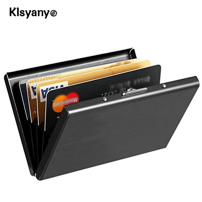 Klsyanyo Black Stainless Steel Metal Case Box Men Women Business Credit font b Card b font