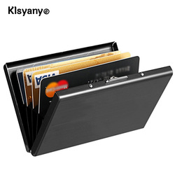 Stainless Steel Metal Card Case Box Men Women Business Credit Card Holder Wallet Cover Coin Purse Aluminum Holder