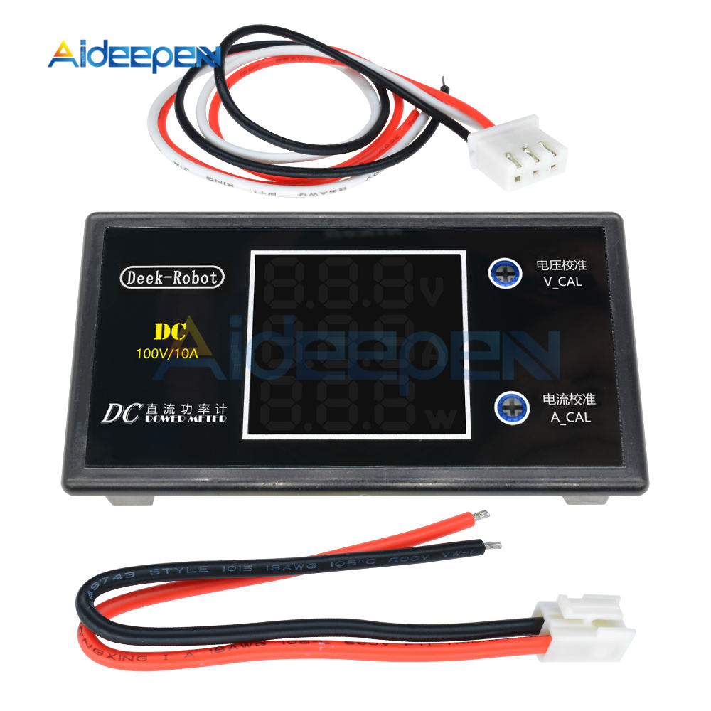 DC 0-100V 0-50V 5A 10A LCD Digital Voltmeter Ammeter Wattmeter Voltage Current Power Meter Volt Detector Tester 250W 1000W 12