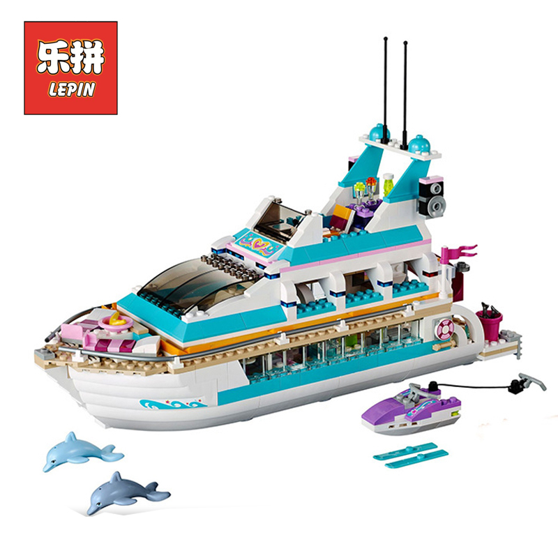 In Stock Lepin Sets Friend Figures 01044 661Pcs Dolphin Cruiser Ship Model Building Kits Blocks Bricks Girl Toy Compatible 41015