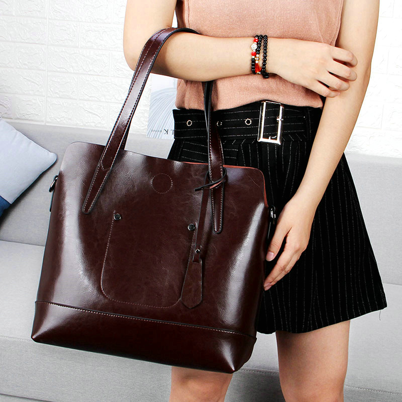 a6230e2064 QIAOBAO Women Oil Wax Genuine Leather Women Bag Large Capacity Tote Bag Big  Ladies Cowhide Shoulder