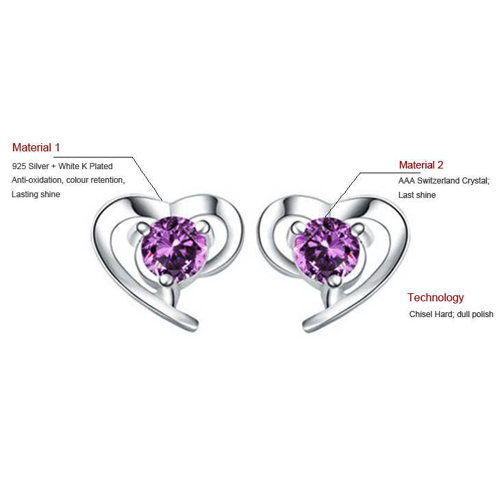 רומנטי הניצוץ לבן AAA Zirconia לב Stud עגילים לנשים 925 כסף מלא כלה אירוסין תכשיטי SY015