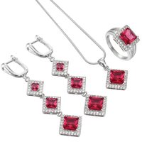 Ruby Luxury Jewelry Sets Red Stone Full AAAA Zircon Setting Top Quality Finger Rings Necklace Earring