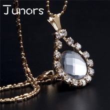 JUNORS Heart Shaped pendant&necklace Crystal Water Drop Custom Color Fashion Women Jewelry Gold Chain