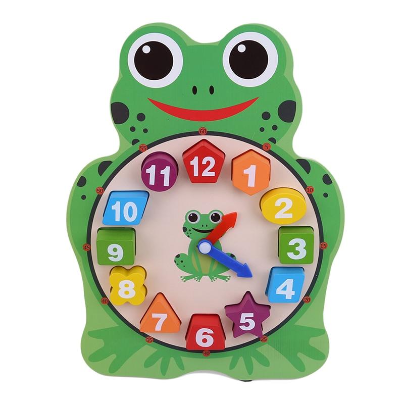Kids Montessori Digitale Cartoon Klok Houten Blok Speelgoed Voor Baby Leren Tijd Vorm Kleur Uil Kikker Vroeg Leren Speelgoed