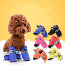 4pcs/set Anti-slip Pet Shoes for Small Dogs Cats Chihuahua Waterproof Booties Snow Dog Boots Warm Socks Footwear Cachorro(China)