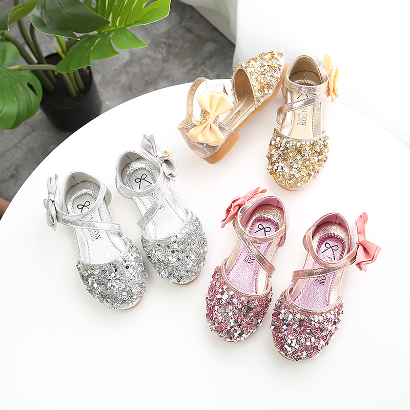 cosplay costume girl's paillette crystal shoes bowkont princess Cinderella dancing shoes birthday gift anti-skid for kids