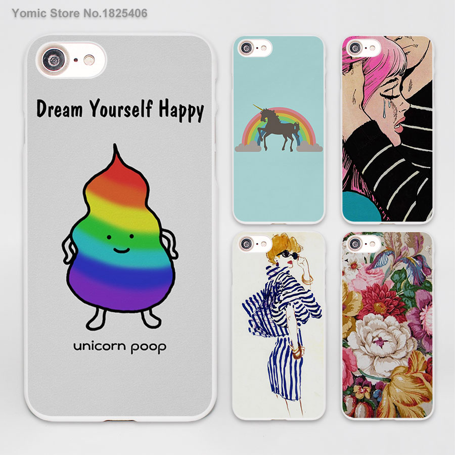 5s poster design - Unicorn Poop Funny Inspirational Poster Rainbow Design Hard White Skin Case Cover For Apple Iphone 7