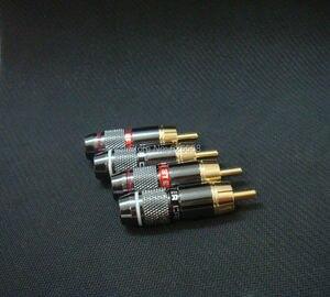 Image 1 - 8x Gold Überzog RCA Stecker Adapter Audio Solder Stecker Schwarz 4 Pairs