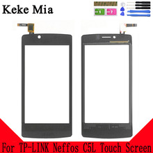 Keke Mia 4.5 Touch Screen New Original 100% For TP-LINK Neffos C5L Touch Panel Glass Lens Touchpad Digitizer Adhesive + Wipes new tp 3530s2 touch screen perfect quality