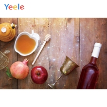 Yeele Happy Rosh Hashanah Shofar Photography Backdrop Honey Apples Wood Board Wine Background For Photo Studio