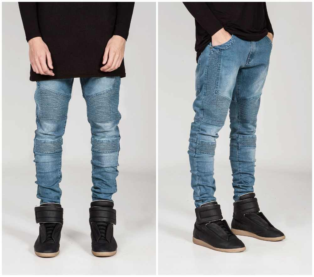 Streetwear Heren Ripped Biker Jeans Homme Herenmode Motorfiets Slim Fit Zwart Wit Blauw Moto Denim Broek Joggers Skinny mannen