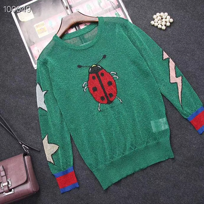 2018 AUTUMN WINTER WOMEN SWEATERS BUTTERFLY SWEETY LADIES SWEATERS FLASHING LADYBUG  KNITTED FEMME SWEATER b4993a7d5