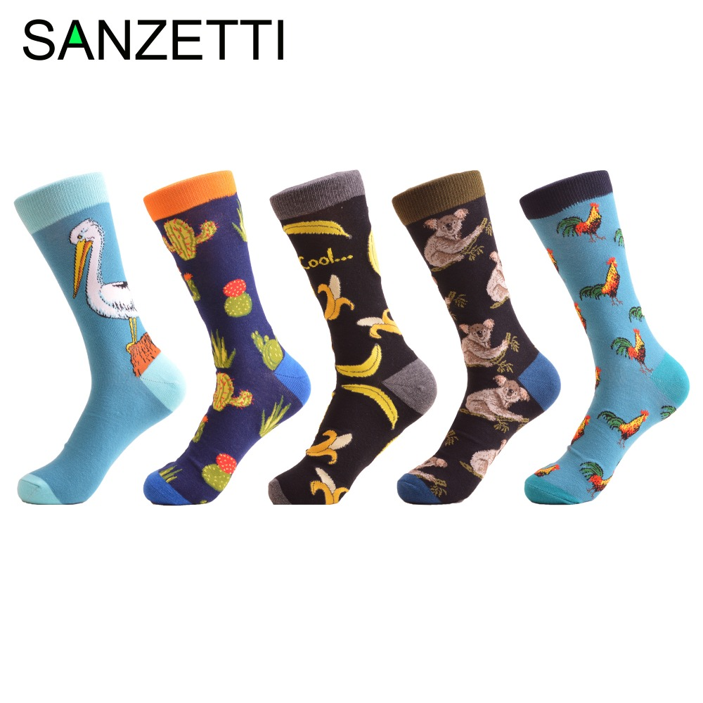 SANZETTI 5 pairs/lot New Arrival Mens Cotton Causal Crew Funny Socks Novelty Casual Dress Wedding Socks Cool Male Trendy Socks
