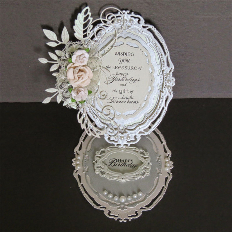 Eastshape 7 Pcs lot Metal Cutting Dies Scrapbooking For Card Making DIY Embossing Cuts New Craft Die Oval Pattern Photo Frame in Cutting Dies from Home Garden