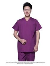 New plus size Men's V neck Summer Nurse Uniform Hospital Medical Scrub Set Clothes Short Sleeve cotton Surgical Scrubs