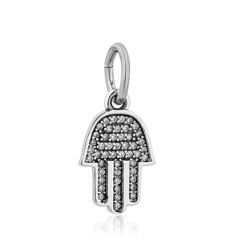 B028(1Symbol Of Protection Dangle Charm, Clear CZ