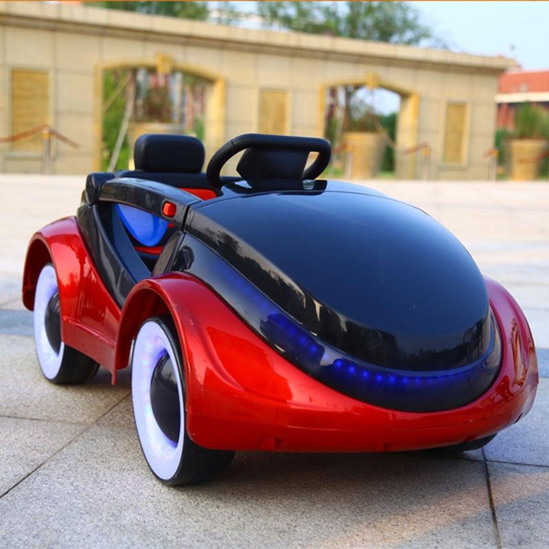 Детей электрический автомобиль дистанционного Управление игрушки автомобиля четыре колеса детские качели двойной диск Детские светодио д
