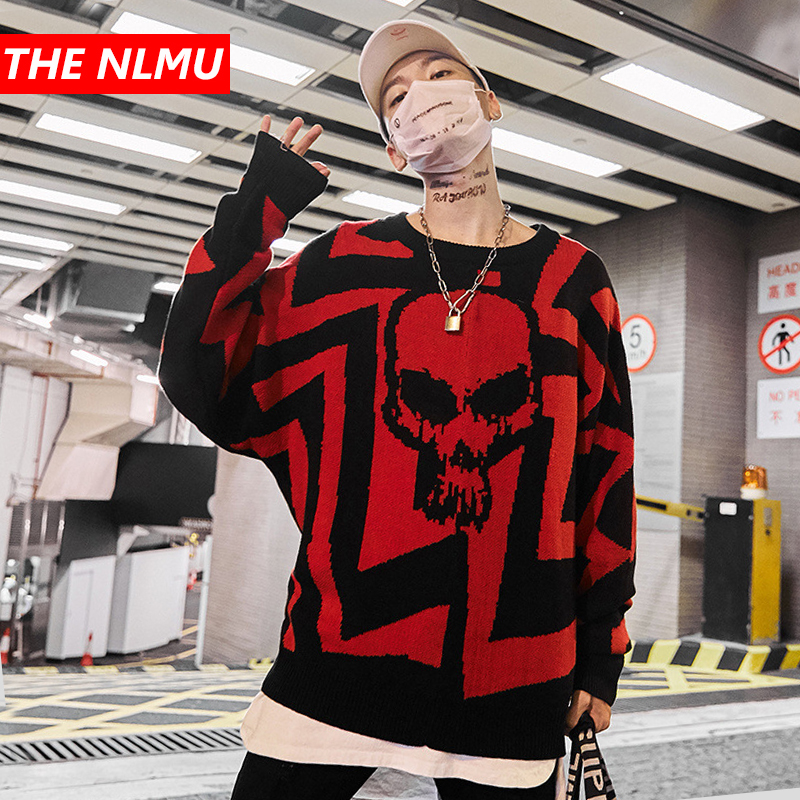 Harajuku Knitted Sweaters Men Hip Hop Skulls Pullover Sweater Streetwear Male Fashion Autumn 2019 Loose Street Clothes WG349