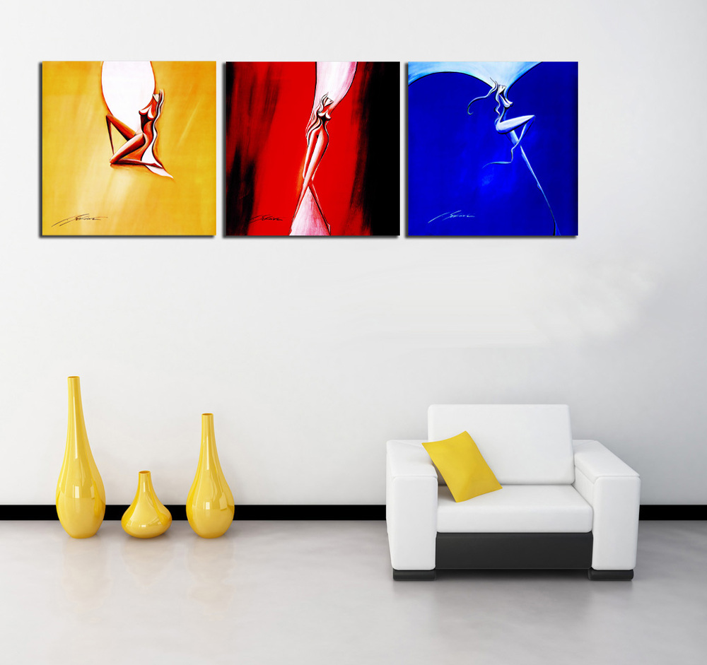 Buy 3 piece abstract painting dancing for Where to buy canvas art
