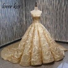 נשיקת מאהב Vestido דה Noiva 2020 Sparkle זהב חתונה שמלת סטרפלס כדור מחוך כלה נישואי טקס שמלות robe de mariage