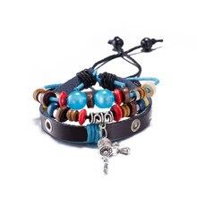 Fashion 2017 Jewelry Leather Bracelet Women Casual Personality Alloy pendant Beaded hand woven Rope Vintage Punk Bracelet Men
