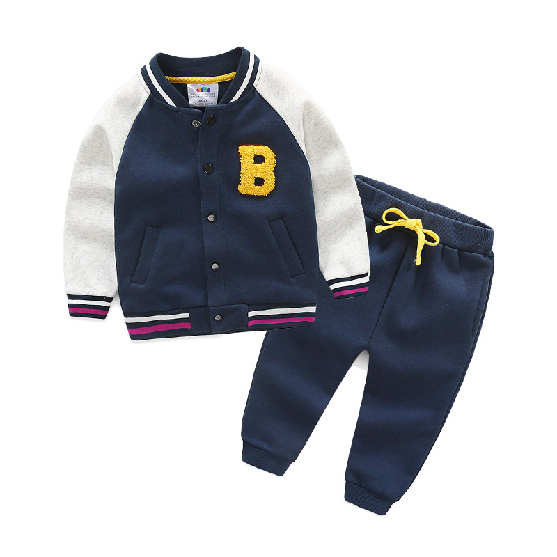 Spring autumn winter sports suit baby boy girls Clothes Long Sleeve baseball+Pants 2Pcs Suits children Clothing Outfit kimocat boy and girl high quality spring autumn children s cowboy suit version of the big boy cherry embroidery jeans two suits