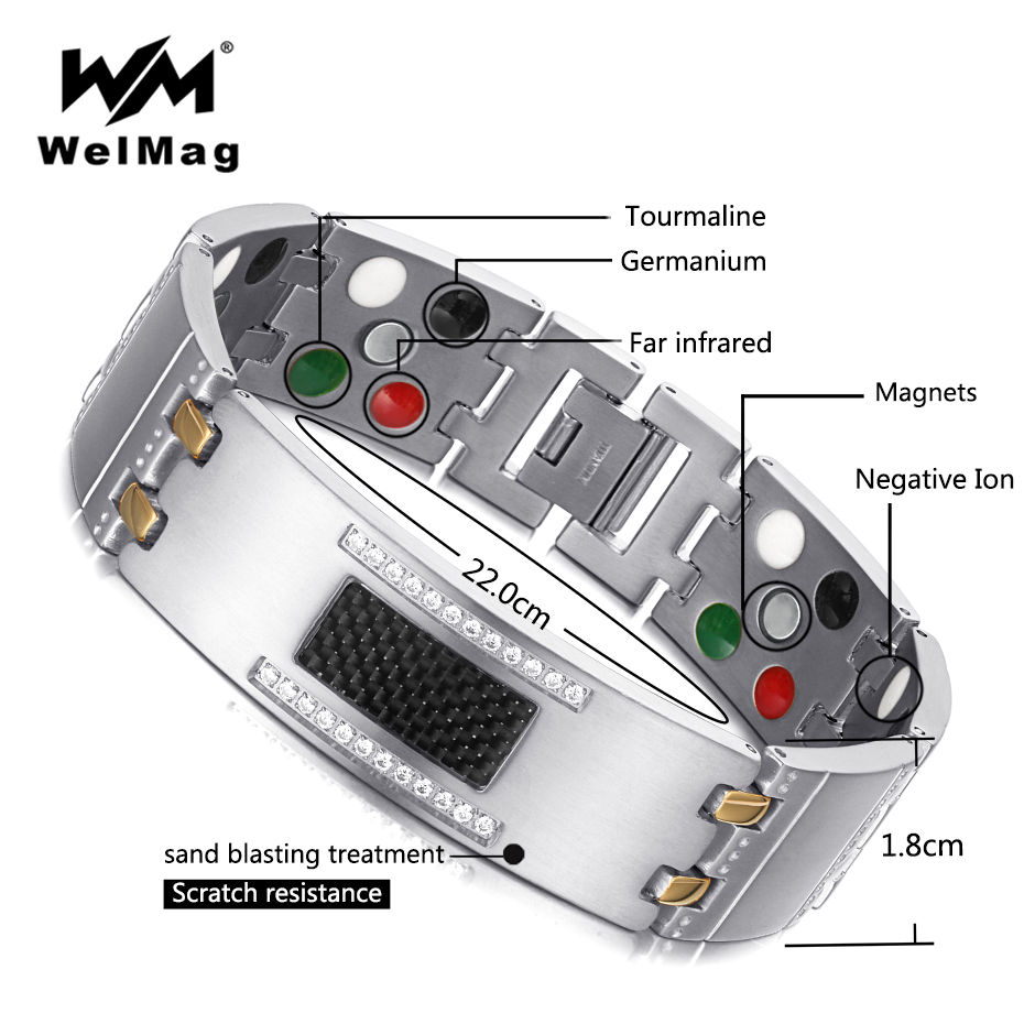 WelMag 2018 Fashion Exquisite Crystal Magnetic Titanium Bracelets Bangles for Men Germanium Tourmaline Male Health Wristband 38 2018 new arrivel fashion magnetic health men s jewelry bracelet trendy titanium chain link charm bracelets bangles for womens