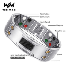 WelMag 2019 Fashion Exquisite Crystal Magnetic Titanium Bracelets Bangles for Men Germanium Tourmaline Male Health Wristband