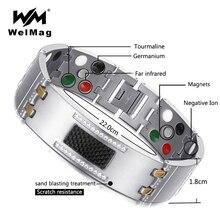 WelMag pulsera de titanio Cristal magnético para hombre, brazalete masculino, germanio y turmalina, 2019