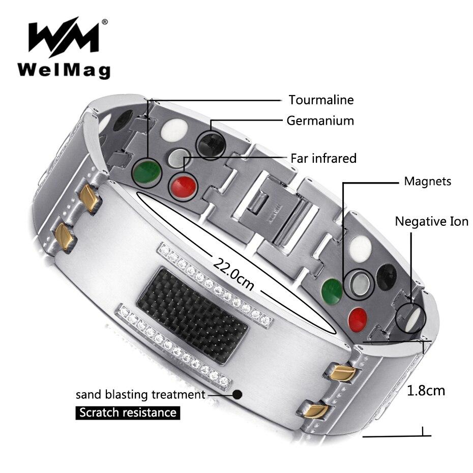 Welmag 2019 moda requintado cristal magnético titânio pulseiras pulseiras para homens germânio turmalina masculino saúde pulseira