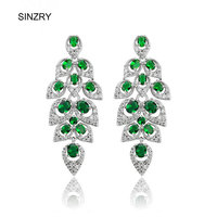 Spring Leaf In Wind Emerald Color Swiss Cubic Zirconbridal Wedding Chandelier Earrings Top Quality