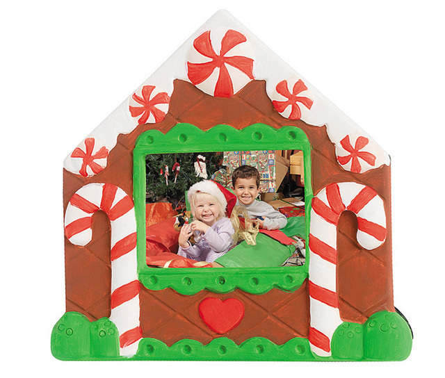 Set of 4 Piece Ceramic Material unfinished Christmas Frame kids