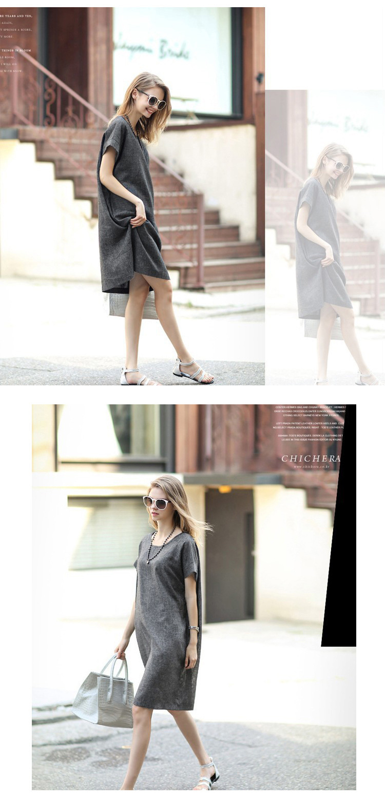 917437ba12 Large size cotton and linen dress Gray was thin simple Casual ...