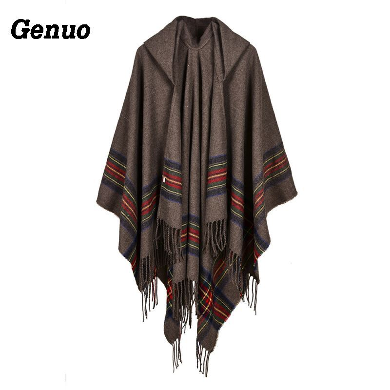 Winter Women Loose Coat Oversized Knitted Cardigan Sweater Cashmere Like Hooded Striped Plaid Tassels Poncho Cape Shawl Cloak in Cloak from Women 39 s Clothing