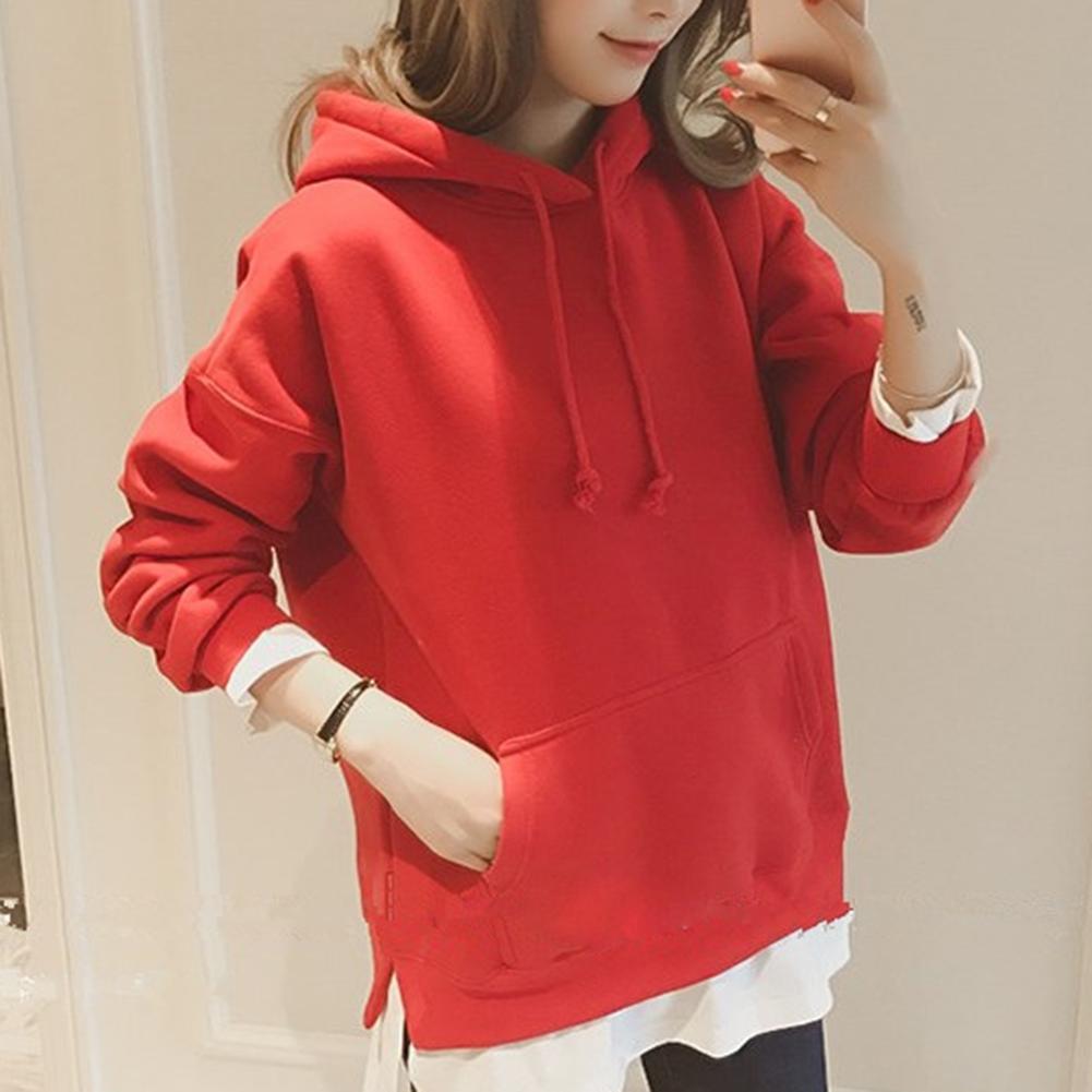 2019 Fashion Sexy Sweatshirts False Two Pieces Long Sleeve Hoodies Casual Women Hooded Loose Sweatshirt Top 1