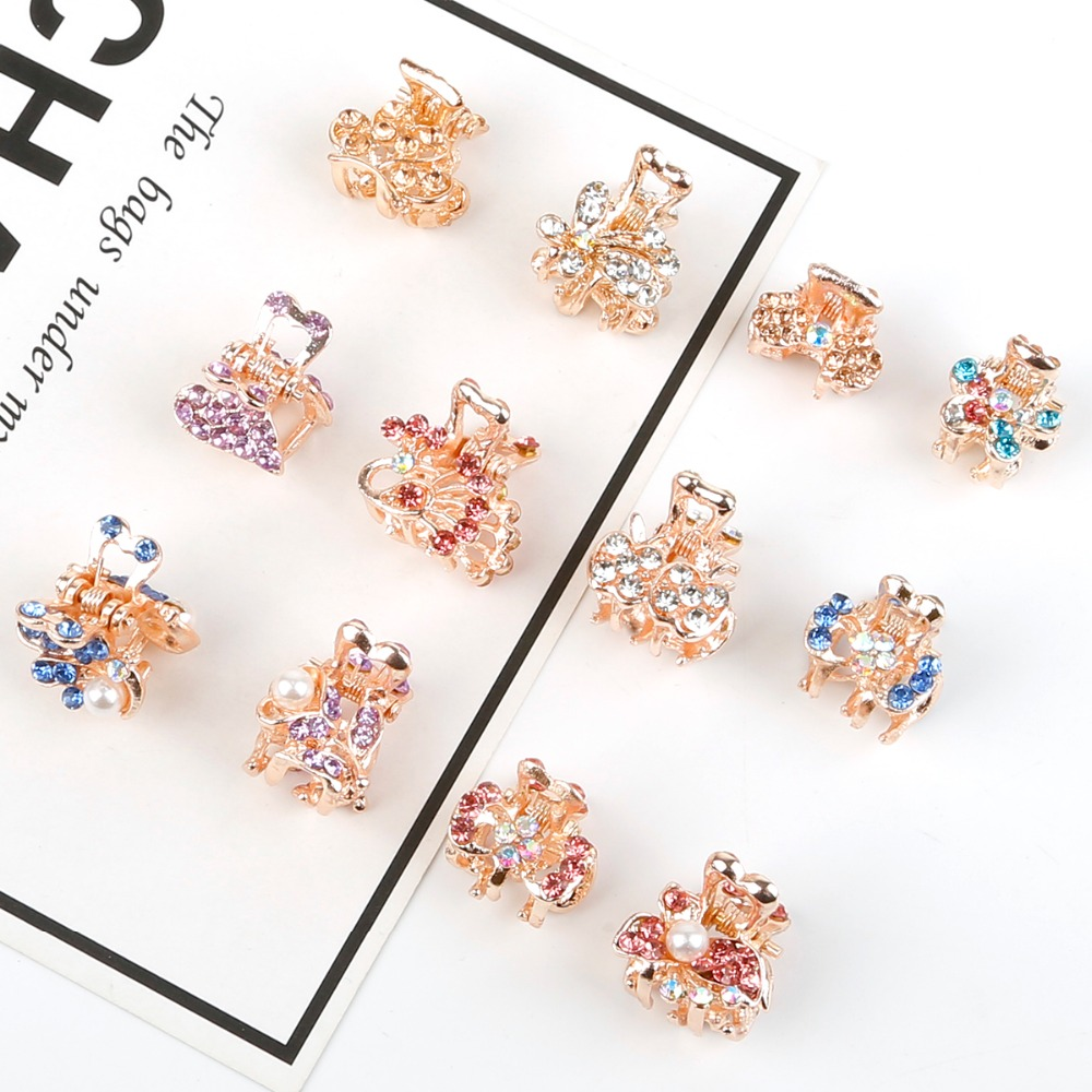New Colorful Rhinestone Crowm Butterfly Bow Hair Claw Women Hair Clip Hairpin Barrettes Headwear Hair Styling Tool Accessories