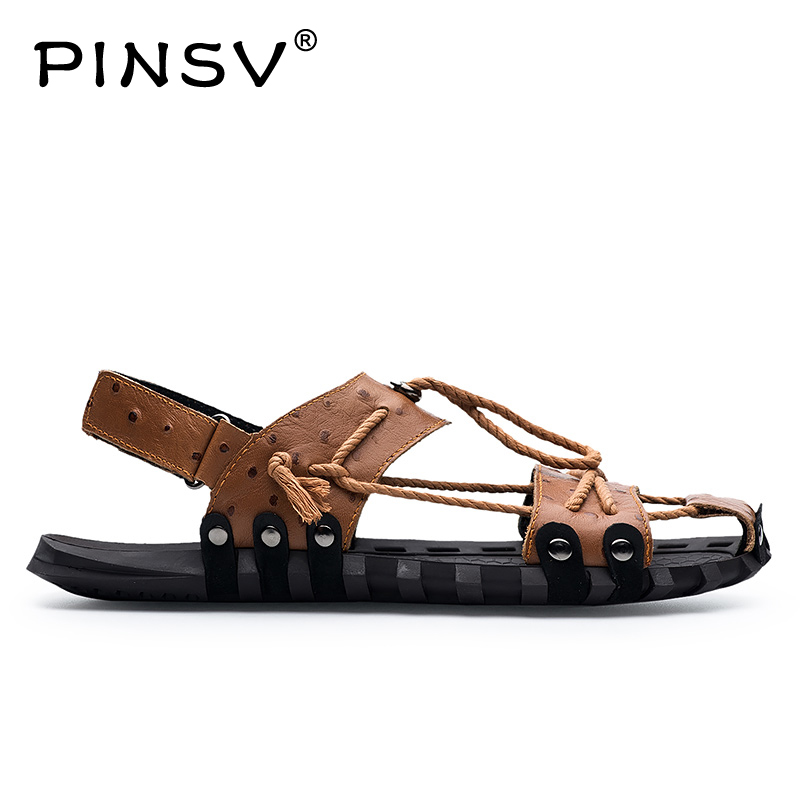 PINSV Hot Sale New FashionSummer Leisure Beach Men Shoes High Quality Leather Sandals The Big Yards Mens Sandals Size 38-47