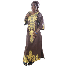 MD 2019 south africa dresses for women bazin dashiki african embroidery clothes dress and head wraps