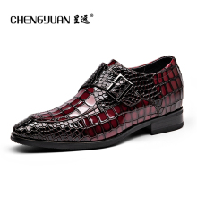 Men's Bullock buckle 6CM leather shoes increase height men black red Business Dress wedding Leather Shoes CHENGYUAN
