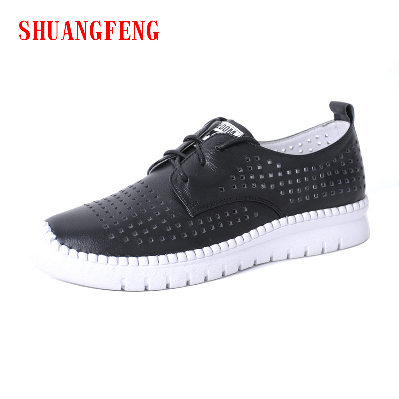 SHUANGFENG Genuine Leather Casual Women's Shoes 2018 Hot Sale Black White Shoes Woman Flat Sneakers Tenis Feminino zapatos eur size 20 30 adjustable children roller skates 2 colors double row 4 wheels skating shoes kids two line toy patines gifts car
